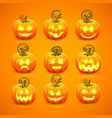 pumpkin with carved face on a orange background vector image vector image
