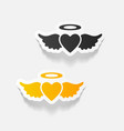 realistic design element heart angel vector image vector image