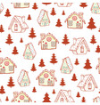 red gingerbread houses and christmas trees vector image vector image
