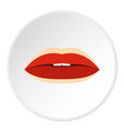 Red lips with lines drawn around it icon circle