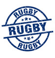 rugby blue round grunge stamp vector image vector image