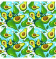 seamless pattern avocado fruits exotic ornament vector image vector image