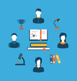 set flat concept icons for education training vector image
