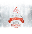 SIlver Merry Christmas typography winter vector image vector image