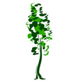single tree sketch green and white vector image vector image