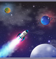 space exploration with retro rocket planets and vector image vector image
