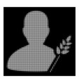 white halftone agriculture farmer icon vector image