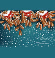 winter snowy background with viburnum branches vector image
