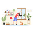 woman training cartoon young yogist active girl vector image vector image