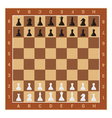 wooden chess board table and figures vector image vector image