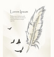 writing feather paint with flying birds vector image vector image