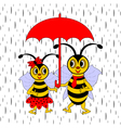A couple of funny cartoon bees under red umbrella vector image vector image