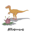 allosaurus with plant isolated vector image vector image