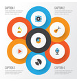 audio flat icons set collection of acoustic vector image vector image