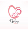 baby sleeping in hands baby care stylized symbol vector image