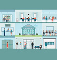 bank building and finance infographic with office vector image vector image