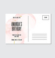 birthday card with tender rose gold alcohol ink vector image