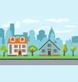city with two two-story cartoon houses vector image