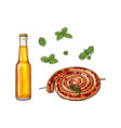 cold beer and grilled barbequed cumberland sausage vector image vector image
