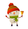 cute cartoon christmas snowman holds bell happy vector image