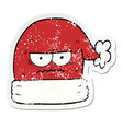 distressed sticker of a cartoon annoyed christmas vector image vector image