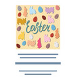 easter bunny and eggs square card with text vector image vector image