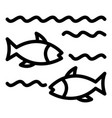 fish in lake icon outline style vector image vector image