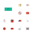 flat icons purchase support cash and other vector image vector image
