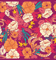 floral jungle with snakes seamless pattern vector image