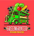 food truck fruit seller greengrocer stand fast vector image vector image