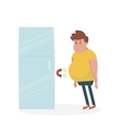 Fridge attracts fat man Fat Man Standing Near the vector image vector image