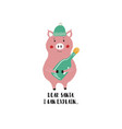 funny christmas card with pig vector image