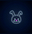 glowing neon sign of cute rabbit in kawaii style vector image
