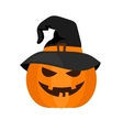 Halloween pumpkin with witch hat vector image vector image