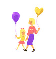 happy mother and daughter on a walk in park vector image
