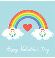 Happy Valentines Day Red heart Love card Rainbow vector image vector image