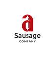 initial a sausage logo design vector image vector image