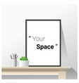 interior poster mock up with empty frame vector image vector image