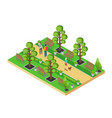 isometric element of green park with alley vector image