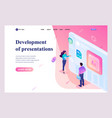 isometric young people stand at screen creating vector image