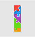 jigsaw color shape puzzle piece letter - i vector image vector image