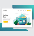 landing page template safety box concept vector image