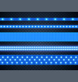 led strip bright blue light realistic set vector image vector image