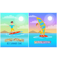 lovely summer banners set vector image vector image