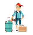 man with the luggage traveler colourful vector image vector image