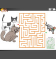 maze educational game with cartoon cats vector image