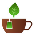 mug with leaves flat icon cup of tea color icons vector image vector image