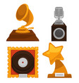 music award old trophy cups isolated objects vector image vector image
