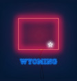 neon map state of wyoming on dark background vector image