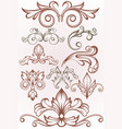 ornamental floral elements vector image vector image